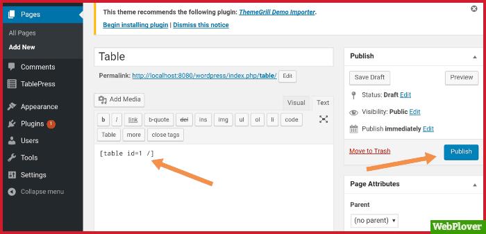 create table in WordPress