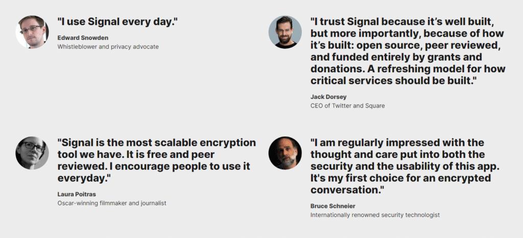 Edward Snowden endorsement on Signal